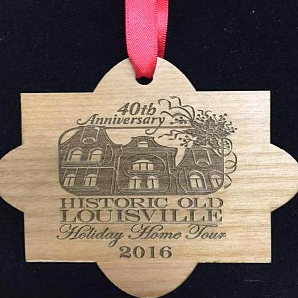 Custom Wooden Christmas Ornament with Company or Event Logo Engraved