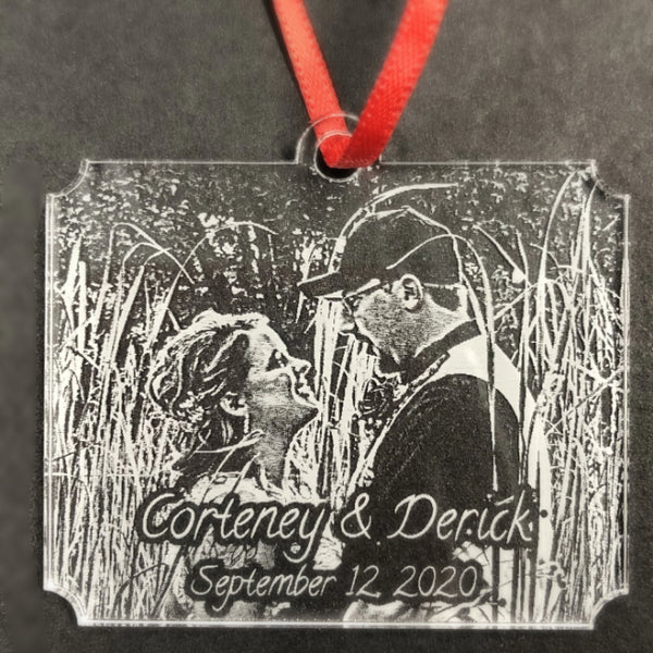 Custom Engagement Photo Ornaments Engraved with Your Special Picture Perfect Personalized Gifts for Wedding or Anniversary | Enchanted Memories, Custom Engraving