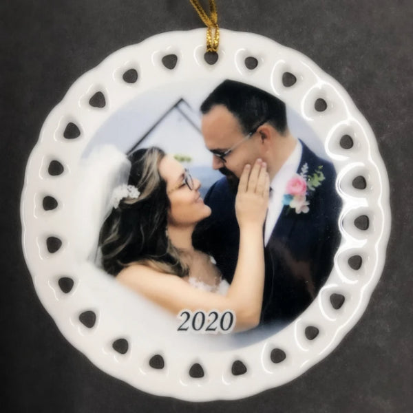 Custom Wedding Photo Christmas Ornament is the perfect gift for weddings and anniversary. Personalized wedding keepsake will become an heirloom piece.