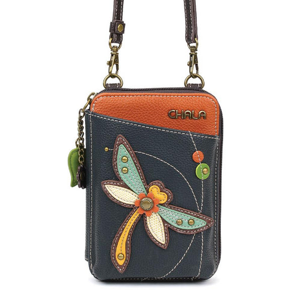 CHALA Crossbody Cell Phone Case/Wallet - Dragonfly - Enchanted Memories, Custom Engraving & Unique Gifts