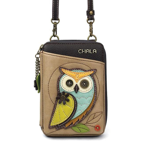 CHALA Crossbody Cell Phone Case/Wallet - Owl - Enchanted Memories, Custom Engraving & Unique Gifts