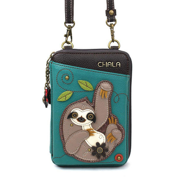 CHALA Crossbody Cell Phone Case/Wallet - Sloth - Enchanted Memories, Custom Engraving & Unique Gifts
