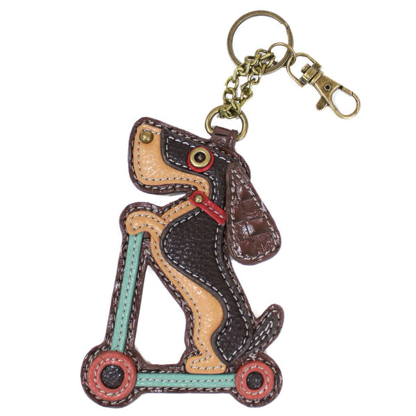 CHALA Wiener Dog Scooter Key Fob, Coin Purse, Purse Charm - Enchanted Memories, Custom Engraving & Unique Gifts