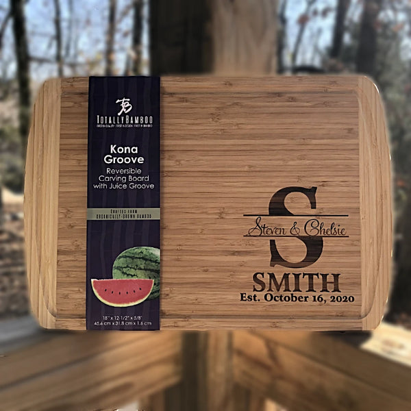 Custom Engraved Bamboo Cutting Board beautifully personalized for special couple. Great for weddings or anniversary gifts. Stunning display in your kitchen or bar.