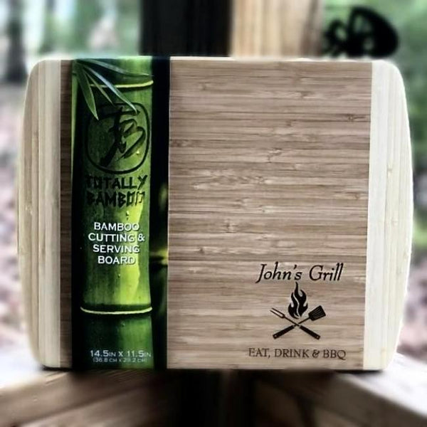 Engraved Bamboo Cutting Board for Grill or BBQ. Perfect Personalized gift for men who love to eat, drink and grill.
