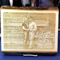 \Engraved Basswood Barkboard couples photo plaque perfect gift for a Wedding or Anniversary. Couples picture etched into wood.