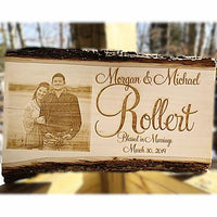 Engraved Basswood Barkboard couples photo plaque perfect gift for a Wedding or Anniversary. Couples picture etched into wood.