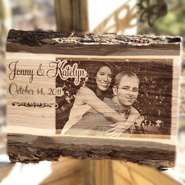 Engraved Butternut Barkboard Couples Photo Plaque Wedding Picture Sign Gift Etched Wooden Photo Plaque