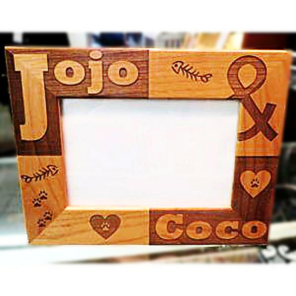 Engraved Cat Picture Frame with Cat's Name Personalized and Custom Made for You