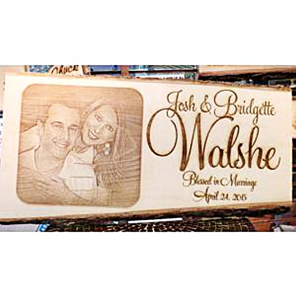 Engraved Couples Photo Wooden Plaque Etched with Your Own Photograph Makes the Perfect Wedding or Anniversary Gift