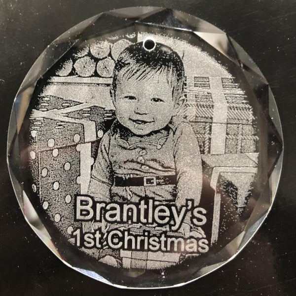 Engraved Crystal Baby's First Christmas Photo Ornament etched with your baby's picture Personalized 1st Christmas Ornament | Enchanted Memories, Custom Engraving