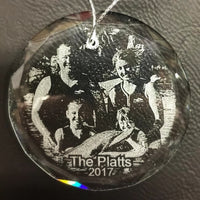 Engraved Crystal Family Christmas Ornament Personalized with Your Favorite Family Photo, Etched Picture Ornament | Enchanted Memories, Custom Engraving