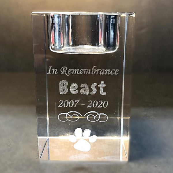 Engraved Crystal Pet Memorial Candle Holder for Your Beloved Best Friend Dog Memorial Ornament Cat Sympathy Gift