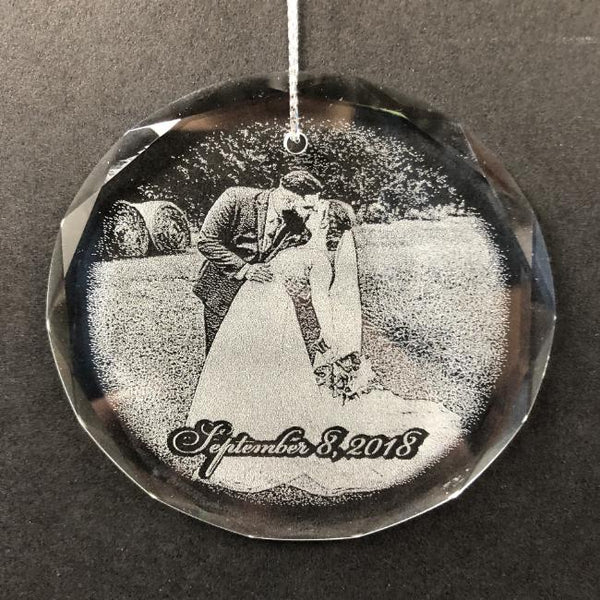 Engraved Crystal Wedding Photo Christmas Ornament is perfect for newlyweds, or couples celebrating their anniversary | Enchanted Memories, Custom Engraving