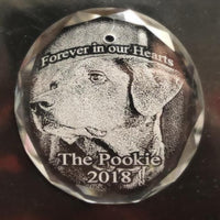 Engraved Crystal Pet Photo Christmas Ornament, the perfect way to remember your beloved pet, with their special picture.
