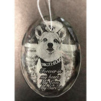 Engraved Crystal Pet Photo Christmas Ornament, etched with your favorite picture of your pet | Enchanted Memories, Engraving