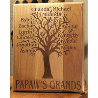 Engraved Family Tree Wooden Plaque for Grandpa with all of he Grandkids Names Personalized into the Wood | Enchanted Memories, Custom Engraving & Unique Gifts