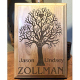 Engraved Family Tree Wooden Plaque with All the Family Names and Paw Prints Personalized into the Wood | Enchanted Memories, Custom Engraving & Unique Gifts