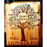 Engraved Family Tree Wooden Plaque with All the Family Names and Pets Personalized into the Wood | Enchanted Memories, Custom Engraving & Unique Gifts