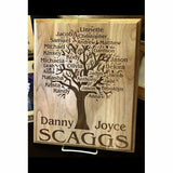 Engraved Family Tree Wooden Plaque with All the Family Names Personalized into the Wood | Enchanted Memories, Custom Engraving & Unique Gifts