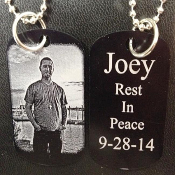 Engraved Memorial Photo Dog Tag Keychain or Necklace Pendant with Photograph of Loved One