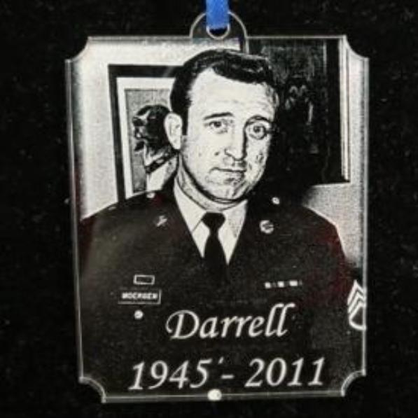 Engraved Military Photo Christmas Ornament Acrylic | Enchanted Memories, Custom Engraving & Unique Gifts