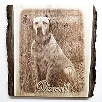 Engraved Wooden Dog Photo Memorial Photo Gift to celebrate the love and life of your best friend. Etched Picture