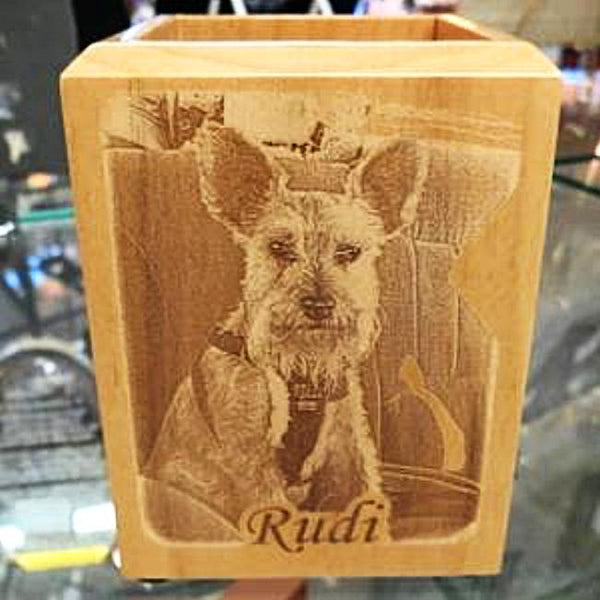 Engraved Wooden Pen Box with Photograph Photo Gift Personalized for Your Desk | Enchanted Memories, Custom Engraving & Unique Gifts