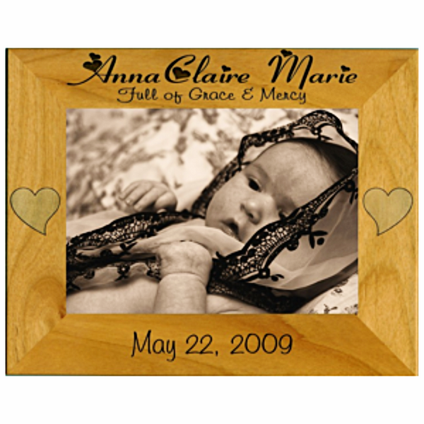 Engraved Wooden Picture Frame for Baby and Children Personalized with Name and Date