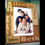 Engraved Wooden Picture Frame for Family Photograph Personalized for You with Family Name