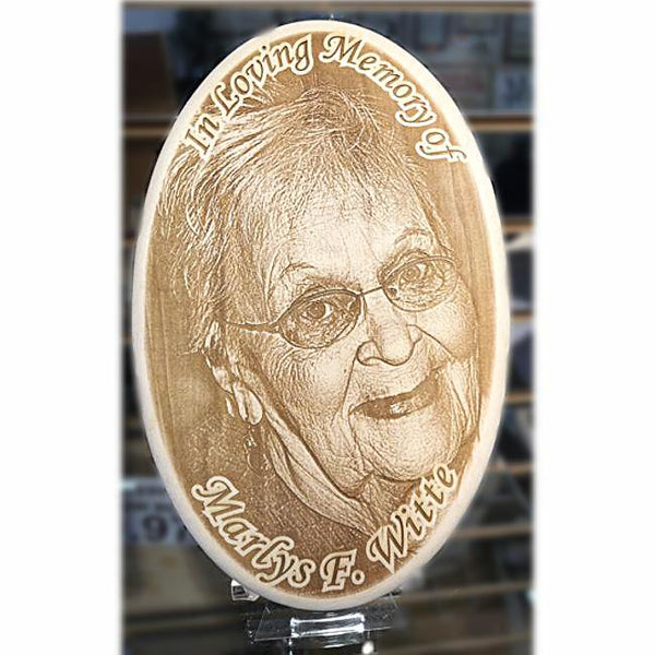 Engraved Wooden Picture Plaque Memorial etched with your special photo memory remembrance gift in sympathy