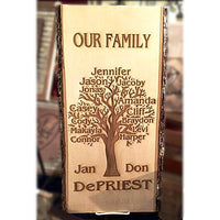 Engraved Family Tree Plaque Custom Made With Everyone In Your Family Personalized in Wood Family Heirloom