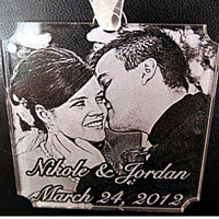 Etched Photo Engraved Wedding Christmas Ornament for Couples | Enchanted Memories, Custom Engraving & Unique Gifts