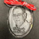 Forever In Our Hearts Christmas Ornament with Photo, Memorial Photo Christmas Ornament, Sympathy Picture Ornament | Enchanted Memories, Custom Engraving