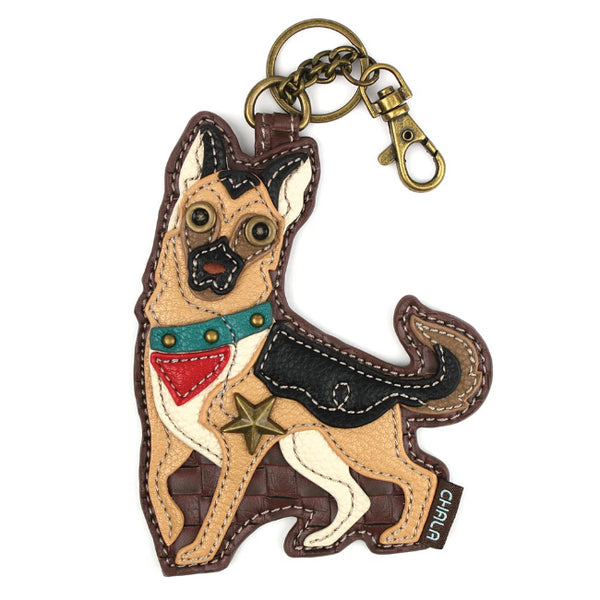 CHALA German Shepherd Key Fob, Coin Purse, Purse Charm - Enchanted Memories, Custom Engraving & Unique Gifts
