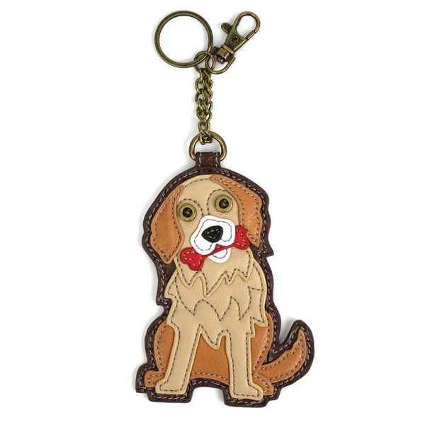 CHALA Golden Retriever Key Fob, Coin Purse, Purse Charm - Enchanted Memories, Custom Engraving & Unique Gifts