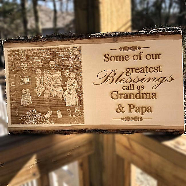 Wooden Photo Plaque for Grandparents XL - Enchanted Memories, Custom Engraving & Unique Gifts
