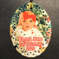 Personalized Porcelain Photo Christmas Ornament for Baby's 1st Christmas | Enchanted Memories, Custom Engraving