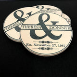 Personalized Wedding Sandstone Thirsty Coasters - Enchanted Memories, Custom Engraving & Unique Gifts