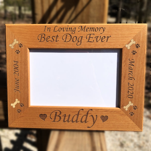 Engraved Wooden Memorial Pet Picture Frame - Enchanted Memories, Custom Engraving & Unique Gifts
