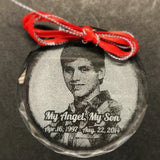 In Loving Memory Christmas Ornament with Photo, Memorial Photo Christmas Ornament, Sympathy Picture Ornament | Enchanted Memories, Custom Engraving