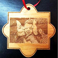 Laser Engraved Family Photo Christmas Ornament with Picture