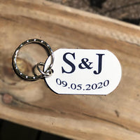 Personalized Engagement Wedding Anniversary Keychain with your special date