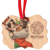 Personalized Pet Photo Christmas Ornament with Logo Custom Made