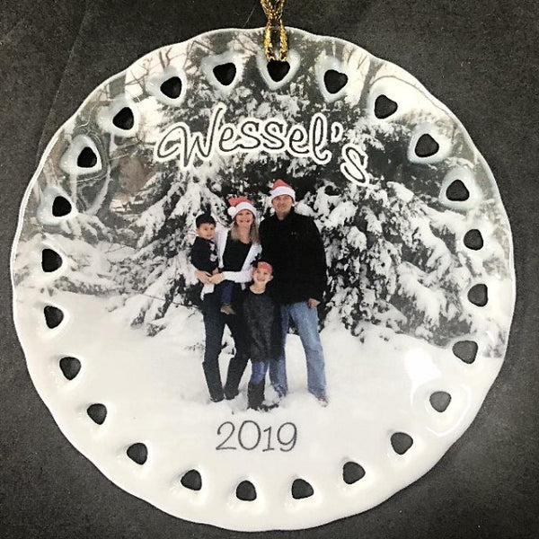 Personalized Ceramic Photo Christmas Ornament Made Just For You With Your Favorite Picture Family Pets Home Cars