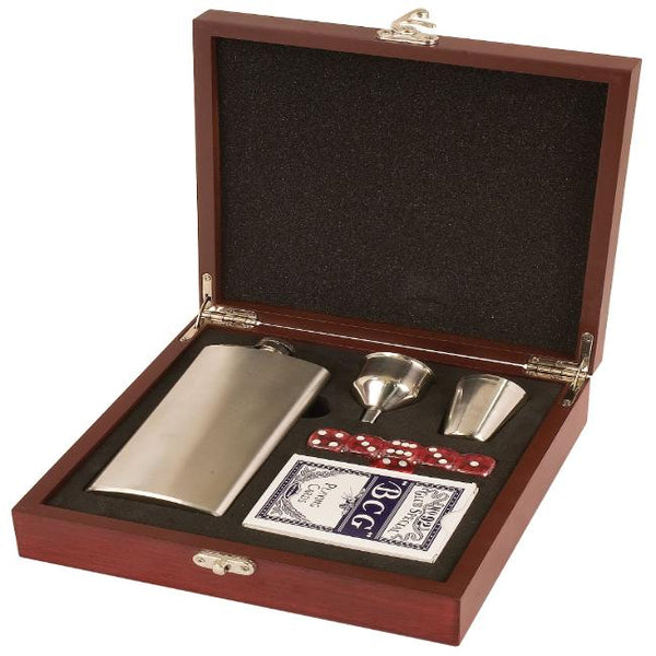 Personalized Rosewood Flask Gift Set with Cards Dice and Shot Glasses Perfect Engraved Gift for Wedding Party