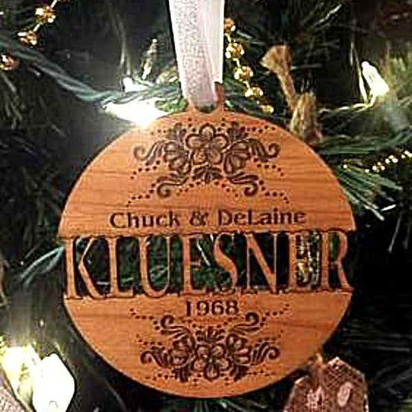 Personalized Wooden Anniversary Christmas Ornament with Name and Date Special Engraved Wedding Ornament for Couple