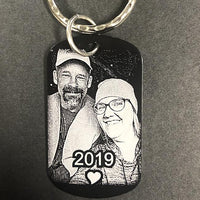 Photo Engraved Custom Dog Tag Keychain with Photograph for Couples Wedding or Anniversary