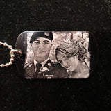 Photo Engraved Custom Dog Tag Necklace Pendant with Photograph for Couples Wedding or Anniversary