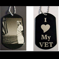 Photo Engraved Military Dog Tag Keychain Necklace with Picture Etched